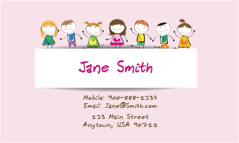 childcare business cards templates preschool business card design 1101101