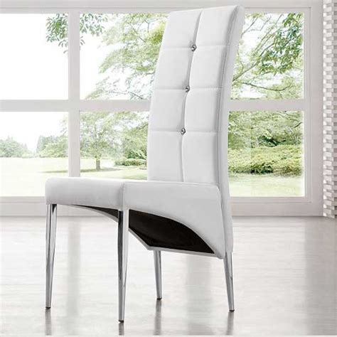 Vesta Studded Faux Leather Dining Room Chair In White 21163 Studded Dining Room Chairs