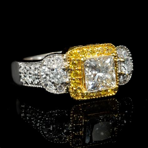 2 13ct antique style 18k two tone gold engagement ring