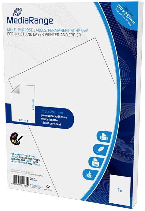 Etiketten Selbstklebend A4 by 50 Mediarange Etiketten Label Selbstklebend A4 210 X 297