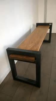 banc industriel design wood metal industrial bench