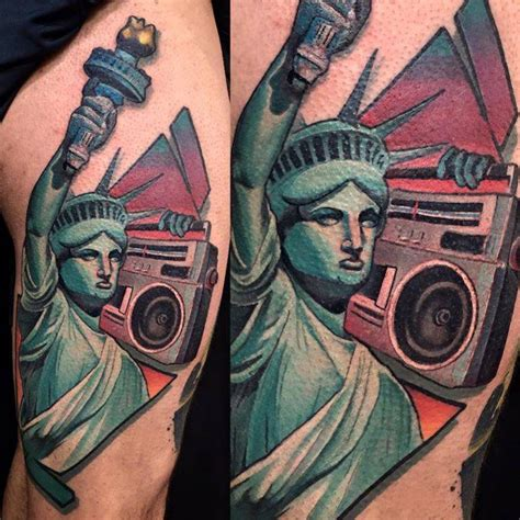 new school boombox tattoo new school statue of liberty with a boom box tattoo on
