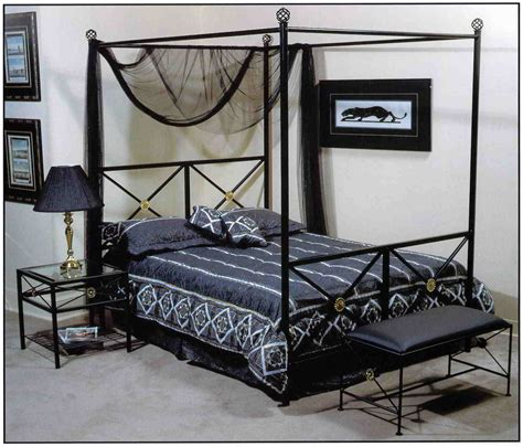 Black Metal Canopy Bed Furniture Carved White Wooden Canopy Bed Frame With Headboard And Brown Pillows Combined By
