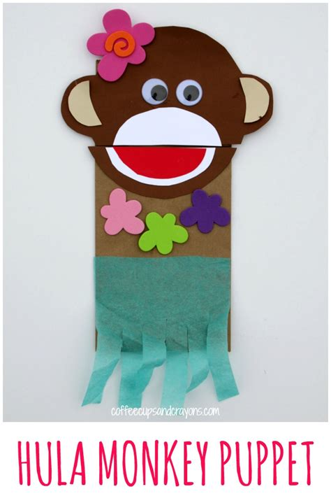 luau crafts for luau craft hula monkey puppet coffee cups and crayons