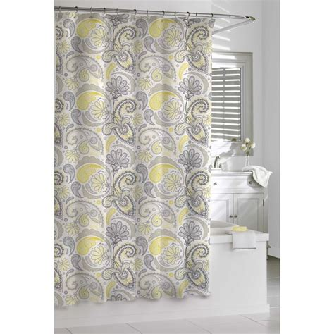 Grey Paisley Shower Curtain by Garden Paisley Yellow And Grey Shower Curtain