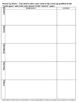 weekly warm up sheet by trisha ratazak teachers pay teachers