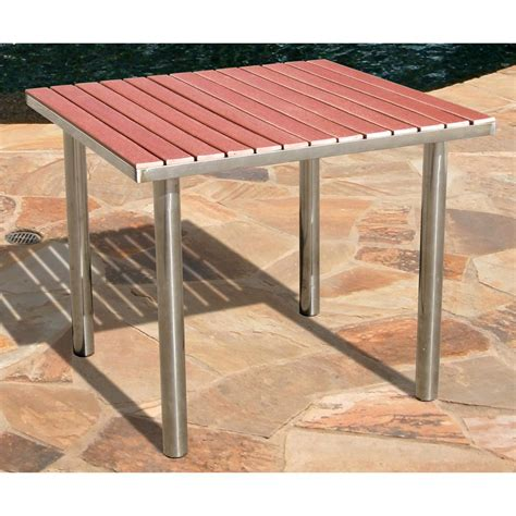 vifah 174 stainless steel frame wood composite outdoor table