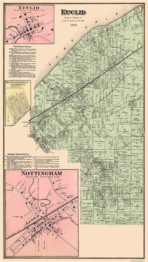 map of euclid ohio city map euclid ohio landowner 1874 23 x 40 69