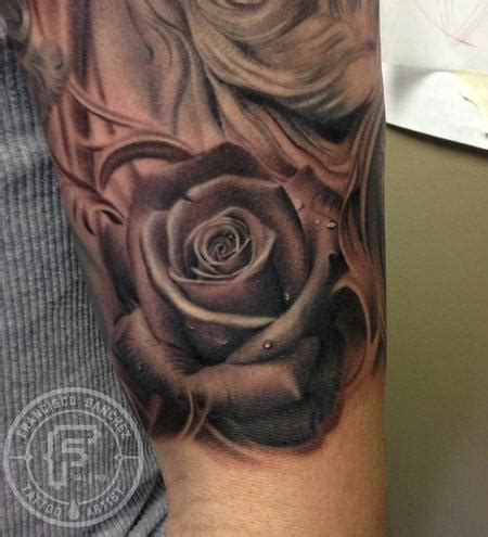 grey shaded rose tattoo black and grey by francisco tattoos