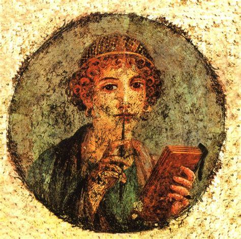 fresco romanos lienzo fresco romano de safo poetisa griega 60x60cm