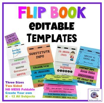 Interactive Notebooks Flip Book Templates Foldable No Mess 3 Sizes Pinterest Back To Back Flip Book Templates For Teachers