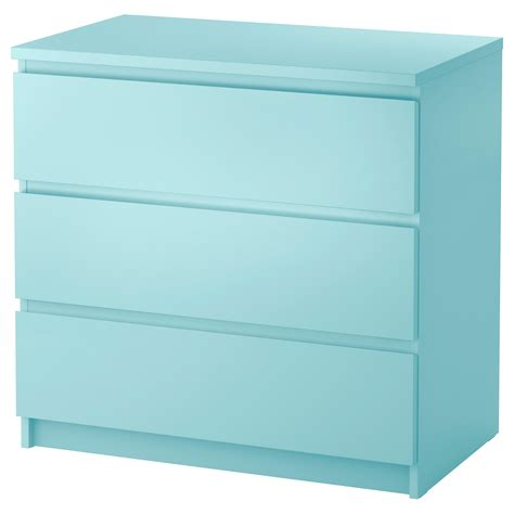 malm kommode 5 schubladen malm chest of 3 drawers light turquoise 80x78 cm ikea