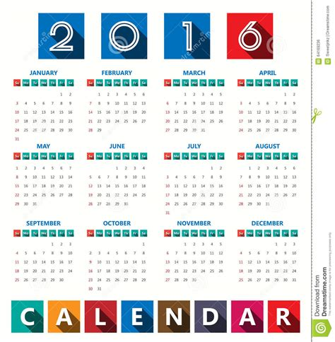 2016 modern calendar template vector illustration