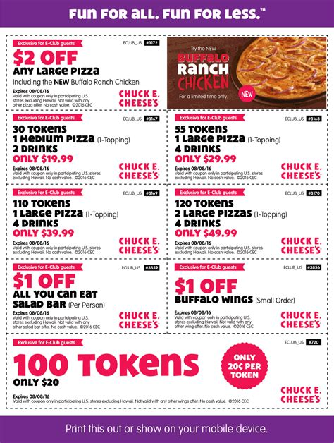 chuck e cheese coupon for november 2018