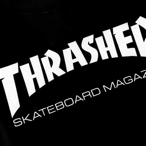 Kaos Tshirt Thrasher X Dickies Black skate mag logo l s t shirt in black white by thrasher