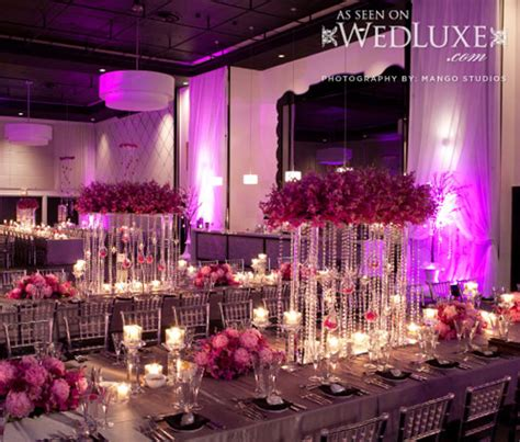 luxury lavender and silver wedding reception decorations