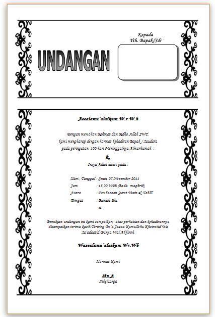 Contoh Surat Undangan Yasinan Pernikahan Suratmenyuratnet