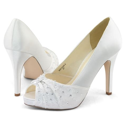 womens white satin wedding dress peep toe platform