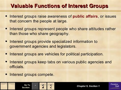 chapter 9 section 2 types of interest groups government chapter 9 notes 1