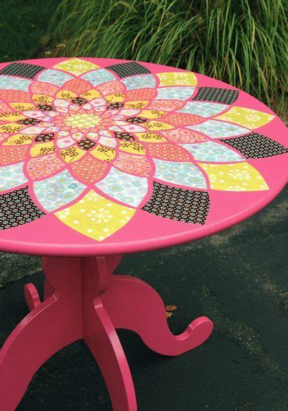 Decoupage Desk Top - decoupage table top ideas