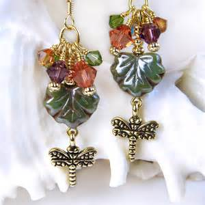 dragonfly earrings colorful crystal clusters czech leaf