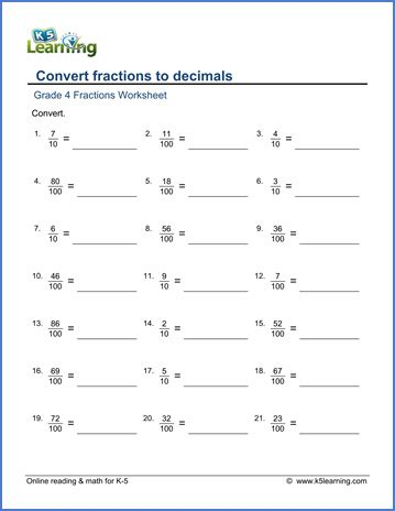 grade 4 math worksheets convert fractions to decimals