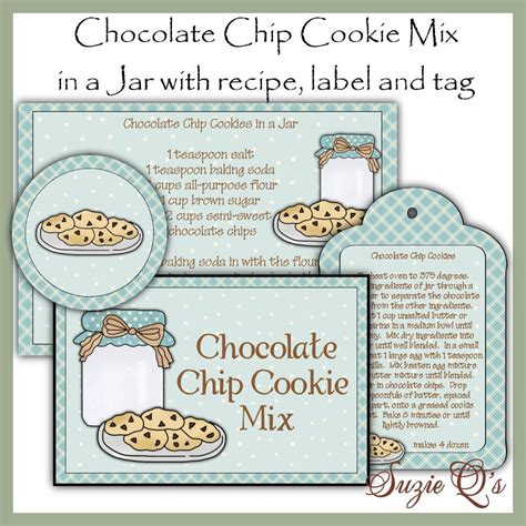 printable biscuit recipes make your own chocolate chip cookie mix in a jar label