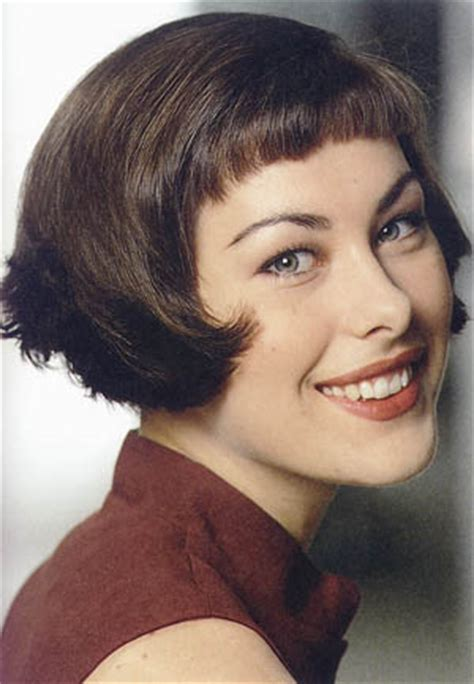 Short Hair Stylel, Curled Tips, Bob Style With Mini Bangs