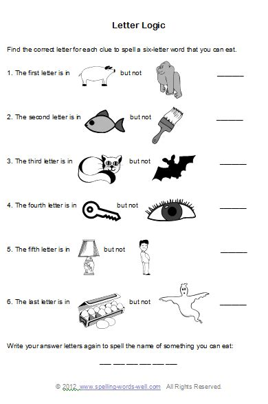 letter logic worksheets brain teaser worksheets for spelling