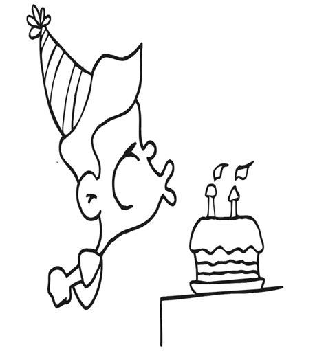 birthday coloring page boy blowing out candles birthday