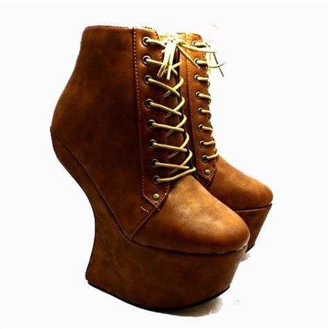 faux leather lace up heel less platform ankle boots