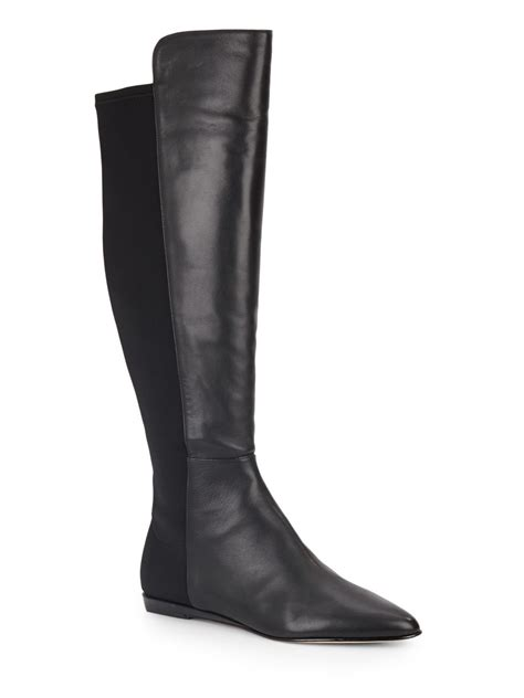 johnston murphy jade stretch leather boots in black lyst