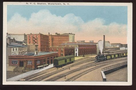 postcard watertown ny n y c railroad depot 1910 s ebay