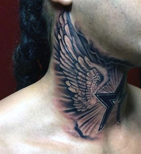small neck tattoos for men 59 wonderful wings neck tattoos