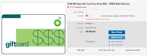 Bp Gas Cards Gift - ebay 100 bp gift card for 92 doctor of credit