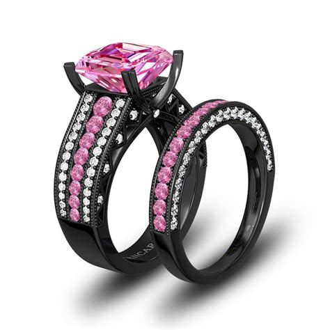 pink and white cubic zirconia cushion cut engagement ring