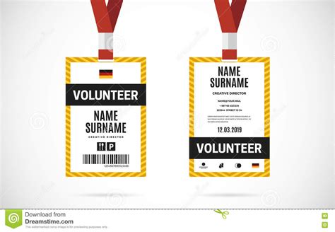 conference id card template event volunteer id card set vector design illustration