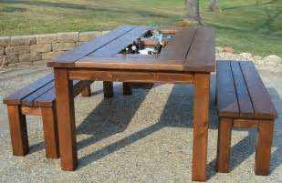 Outside Patio Table Kruse S Workshop Patio Table With Built In