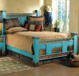 Turquoise Bed Frame Rustic Domingo Azul Bed King Reclaimed Furniture Design
