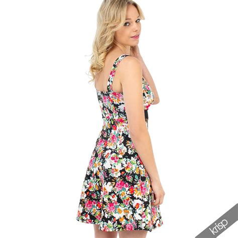 Floral Strappy A Line Dress womens floral a line flared skirt skater mini dress