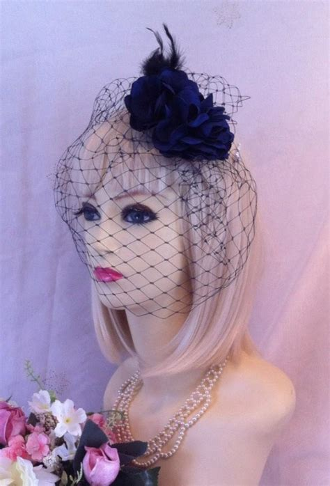 vintage designer style navy blue rose bridal hair peice