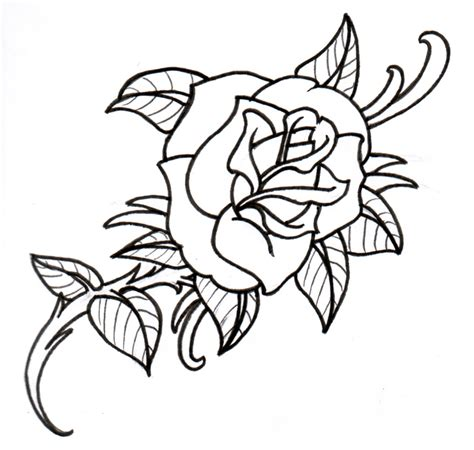 old rose outline by vikingtattoo on deviantart