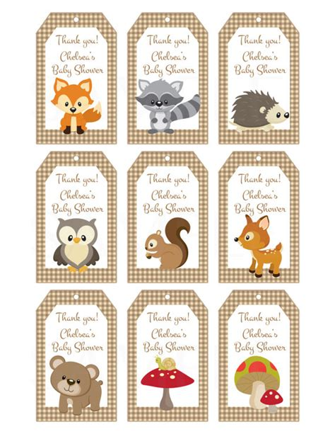 printable rainforest name tags woodland friends forest animals theme baby shower favor