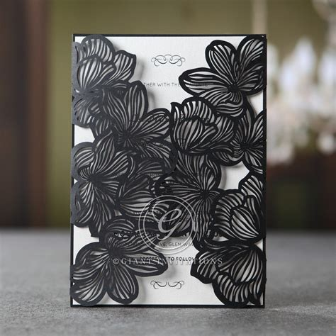 Black Elegance Wrpcc Laser Cut stylish floral laser cut pocket classic and modern