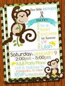 monkey baby shower invitation chevron by pixeldoodlestudio