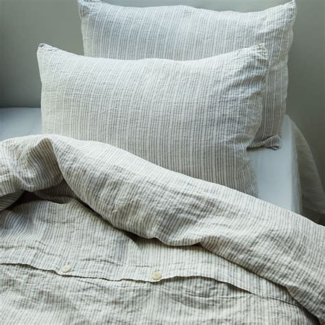 white linen bedding multistripe natural white linen duvet cover by linenme