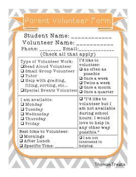 parent volunteer form parent volunteer form classroom