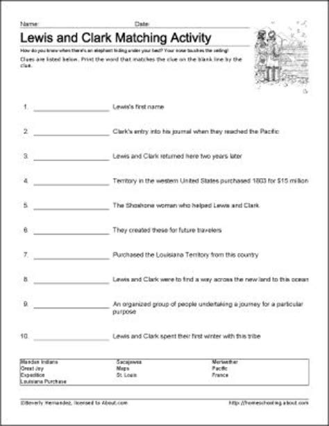 free printable lesson plans on lewis and clark 7th grade social studies worksheets with answers lewis