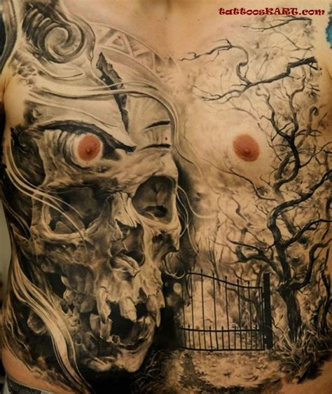 tattoo new cross gate real photo style human skull tattoo on chest combined with