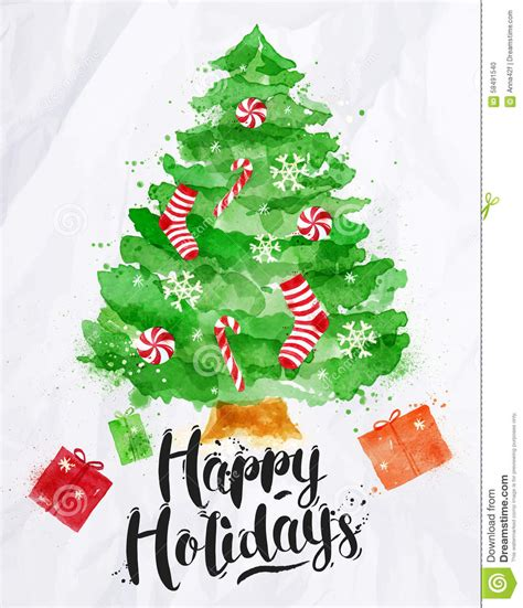 watercolor poster christmas tree stock illustration
